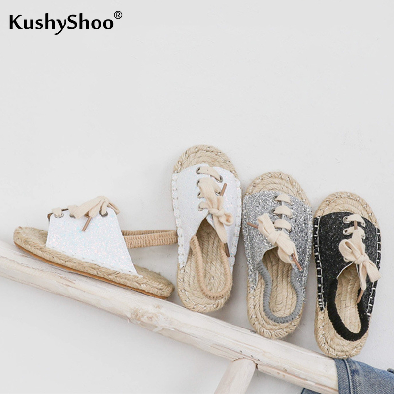 KushyShoo 2020 Spring Children Sequin Stripes Fisherman Shoes Pastoral Style Weaving Sandals Toddler Girl Sandals Kids Sandals