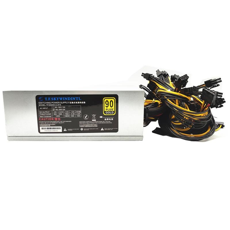 2000w power supply psu ATX12V ETH Coin Mining Miner Power Supply Active PFC Power Supply 8 graphics cards max2400w 220v 110V 1