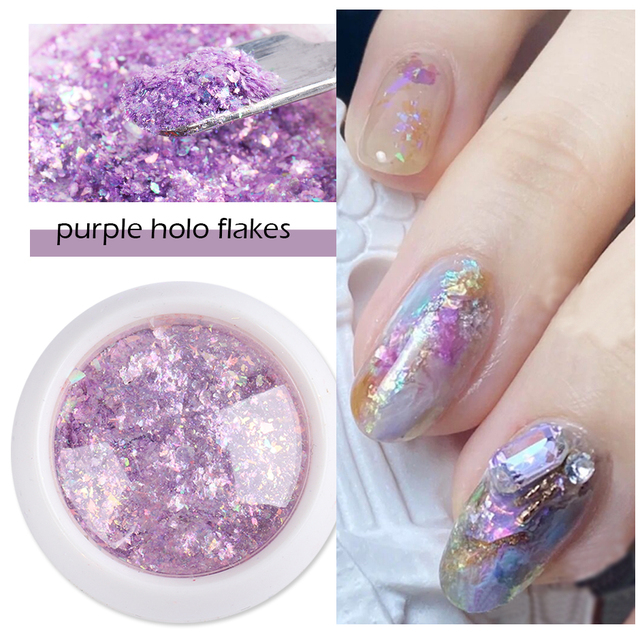 Crystal Fire Opal Flakes Nail Sequins Purple Holographic Glitter DIY Chrome Powder for Spring Nails Manicure Paillettes GL1857 3