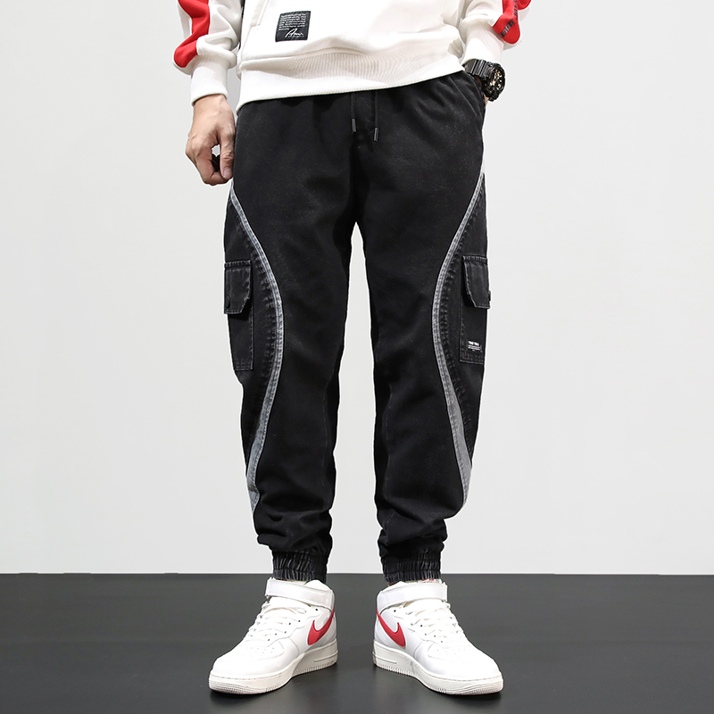 Fashion Streetwear Men Jeans Stripe Spliced Designer Cargo Pants Harem Jeans Slack Bottom Elastic Waist Hip Hop Jogger Jeans Men