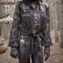 InstaHot Black Gothic Punk Outwear Darkness PU Leather Lace Patchwork Skull Printed Revet Halloween Irregular Hem Autumn Coat