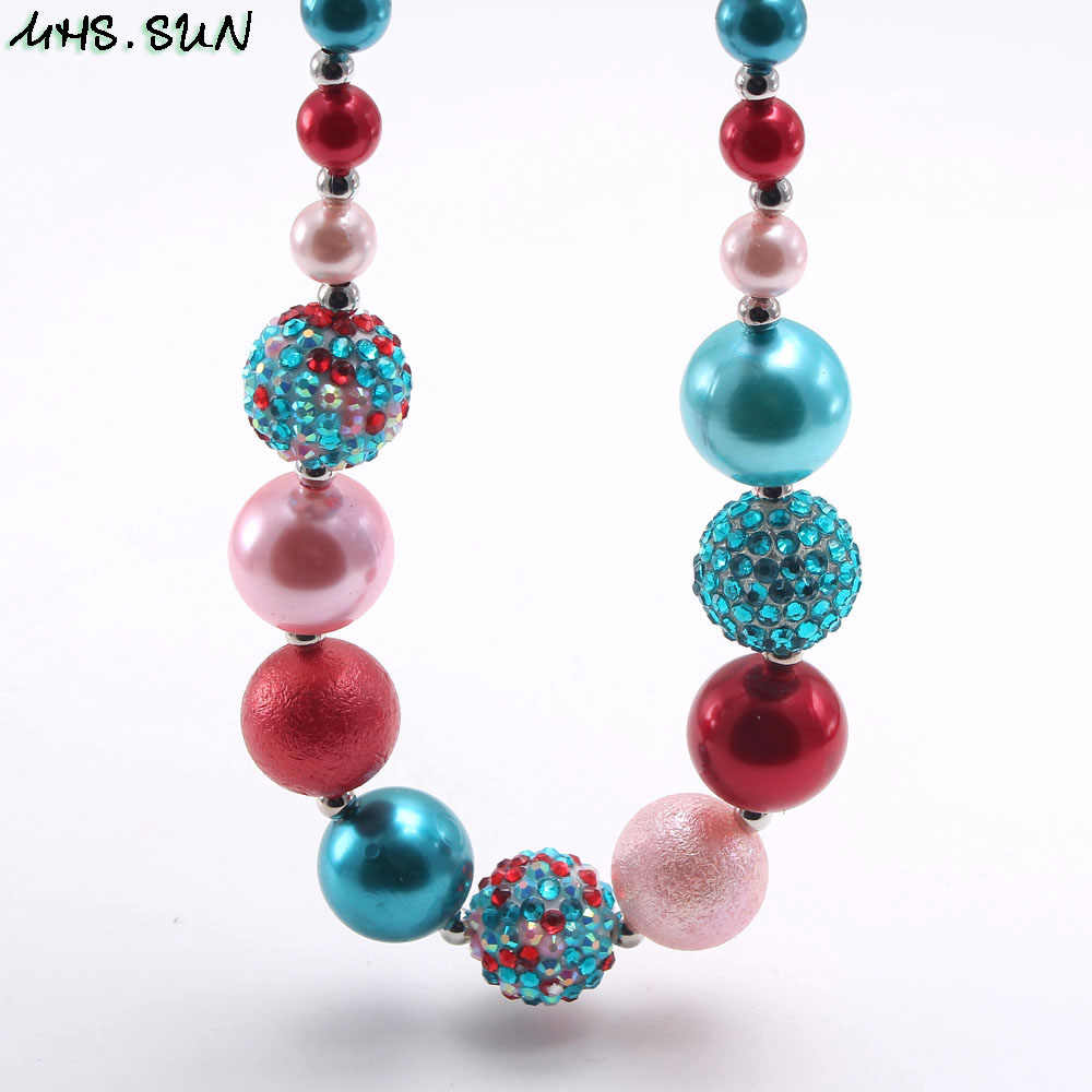 Mhs. sun moda colorido contas chunky colar para meninas bebê bubblegum colar criança crianças chunky jóias estilo adorável