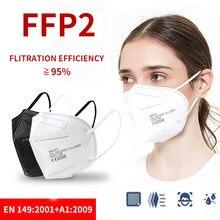 Ffp2 5 camadas máscaras kn95 mascarillas faciais adultos filtro máscara facial filtração boca máscara protetora respirador