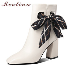 Meotina Winter Ankle Boots Women Natural Genuine Leather Zip Thick Heel Short Boots Bow Super High Heel Shoes Ladies Fall 34-39 цены онлайн