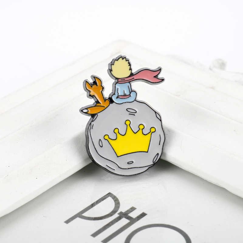 Брошь Le Petit Prince Và Cáo Thổ Cẩm Men Chân Hoạt Hình Huy Hiệu Thổ Cẩm Dành Cho Nữ Trẻ Em Trang Sức Quần Áo Túi Chân