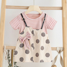 Baby Toddle Girl Dress New Summer Girls Sweet Dresses Toddle Baby Cute Dress Striped Baby Vestidos Children Clothing Suits summer girl clothes new strap dress rose print children s wear vestidos baby 4 11 y children quality clothing 2019 hot sale