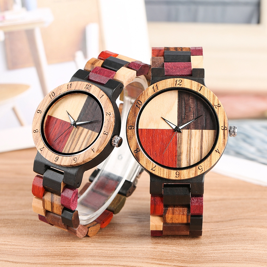4 Colors Stitching Cross Wood Watch Adjustable Mixed Color Band Quartz Watch Clock Male Hour Retro Wristwatch Lovers Watch Gifts