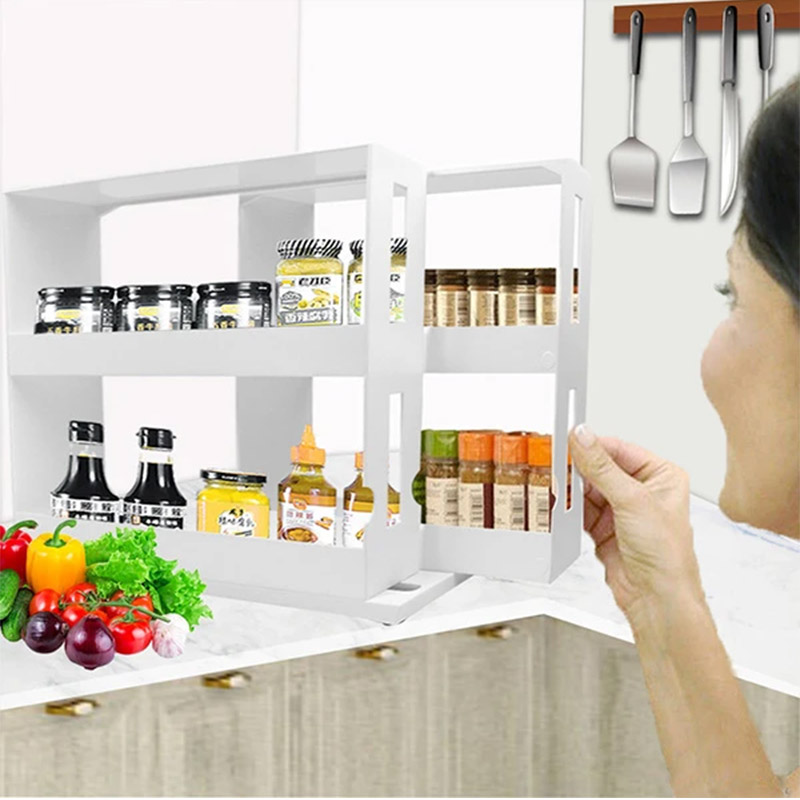 Rotating Spice Organizer Rack Kitchen Multi-Function Storage Shelf Slide Kitchen Cabinet Cupboard Organizer Kitchen Storage Rack