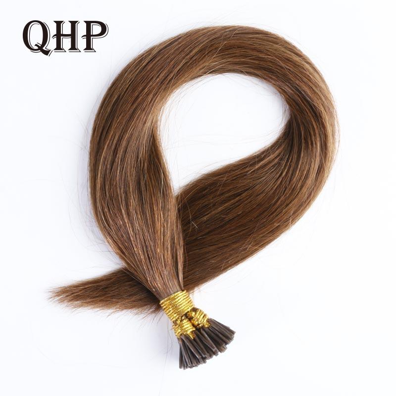 QHP Hair Straight Machine Made Remy Hair Extensions 1g/pcs 50pcs/ Set Straight Keratin I Tip Human Hair