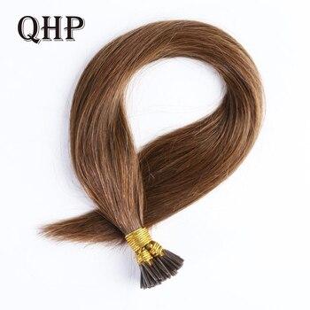 QHP прямые волосы для наращивания Remy 1 г/шт. 50 шт./компл. прямые человеческие волосы с кератином и кончиком
