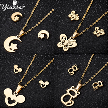 Yiustar Stainless Steel Jewelry Star Moon Necklace and Earring Sets Cartoon Mickey Animal Cat Butterfly Pendant Chokers brincos