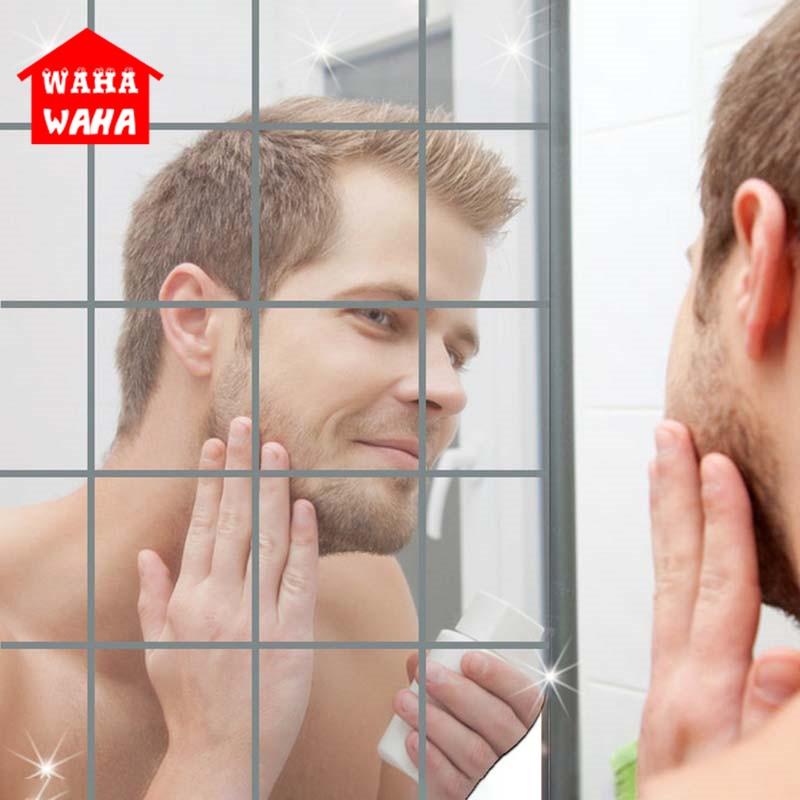 Зеркало для ванной комнаты, самоклеящееся настенное зеркало, зеркальный Декор на стену зеркало для самостоятельного домашнего декора|Декоративные зеркала|   | АлиЭкспресс