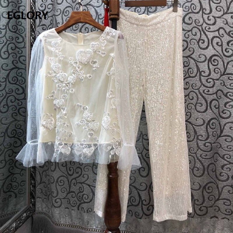 High Quality Designer Clothing Sets 2019 Autumn Party Club Women Sweetheart Sequined Mesh Tops +Straight Sequined Pant Sets 2pc
