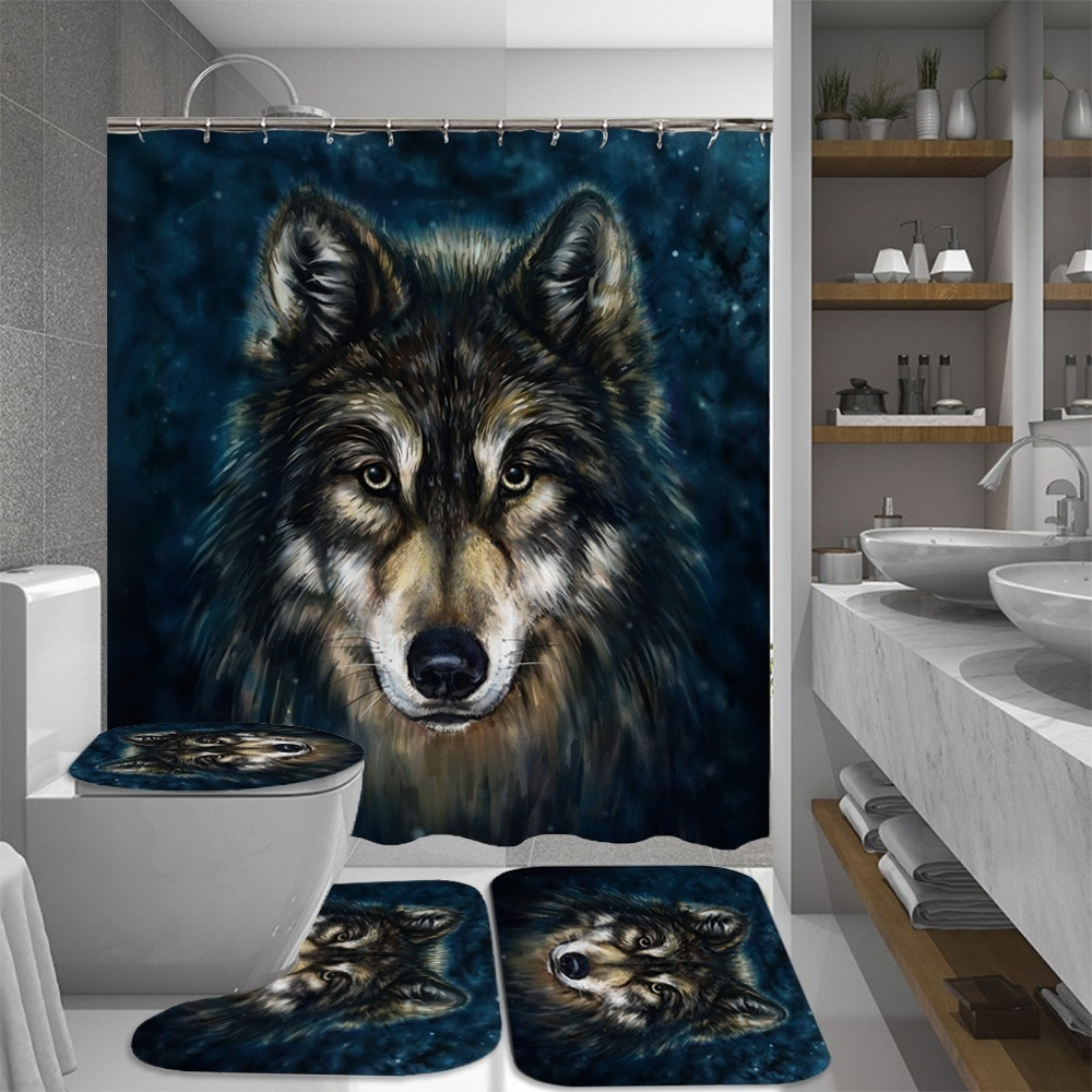 Wolf Polyester Shower Curtain Anti-slip Bathroom Carpet Rug Lid Toilet Cover Mat