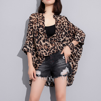 Female Plus Size Chiffon Tops Summer Women Leopard Print Long Blouse Irregular Buttons Batwing Half Sleeve Loose Stand Collar figure print batwing sleeve top