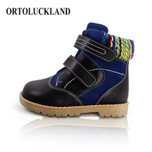 Ortoluckland Children Orthopedic Shoes Boys Girls Sport Black Leather Autumn Winter Fur Boots For Kids Toddler Casual Shoes