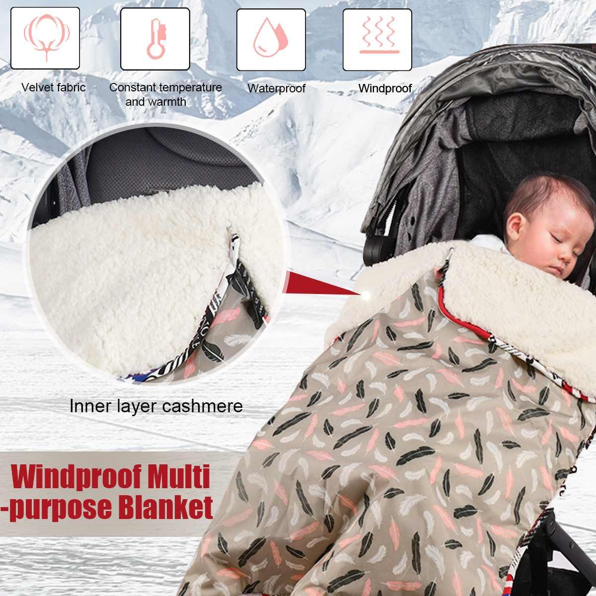 Winter Warm Baby Stroller Sleeping Bag Windproof Waterproof Lamb Velvets Swaddle Knit Wrap Blanket  Pram Pushchair Blankets