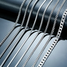 Vnox 3-6MM ton serpent cocon gourmette lien boîte plate blé chaînes en acier inoxydable hommes collier ras du cou bijoux 24 pouces