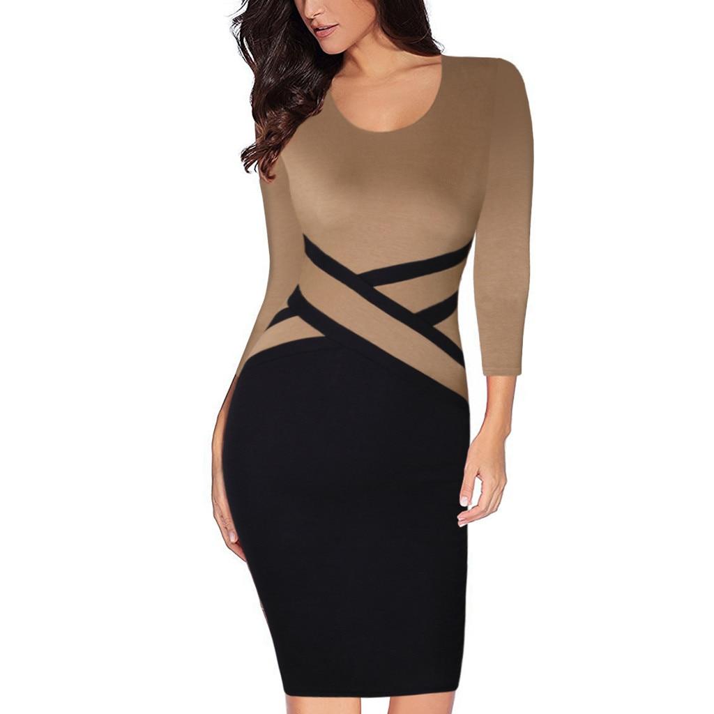 Slim Mini Dress Ladies Elegant Autumn Contrast Color Patchwork Wear To Work Business Party Off Comfortable Ladies Mini Dresses