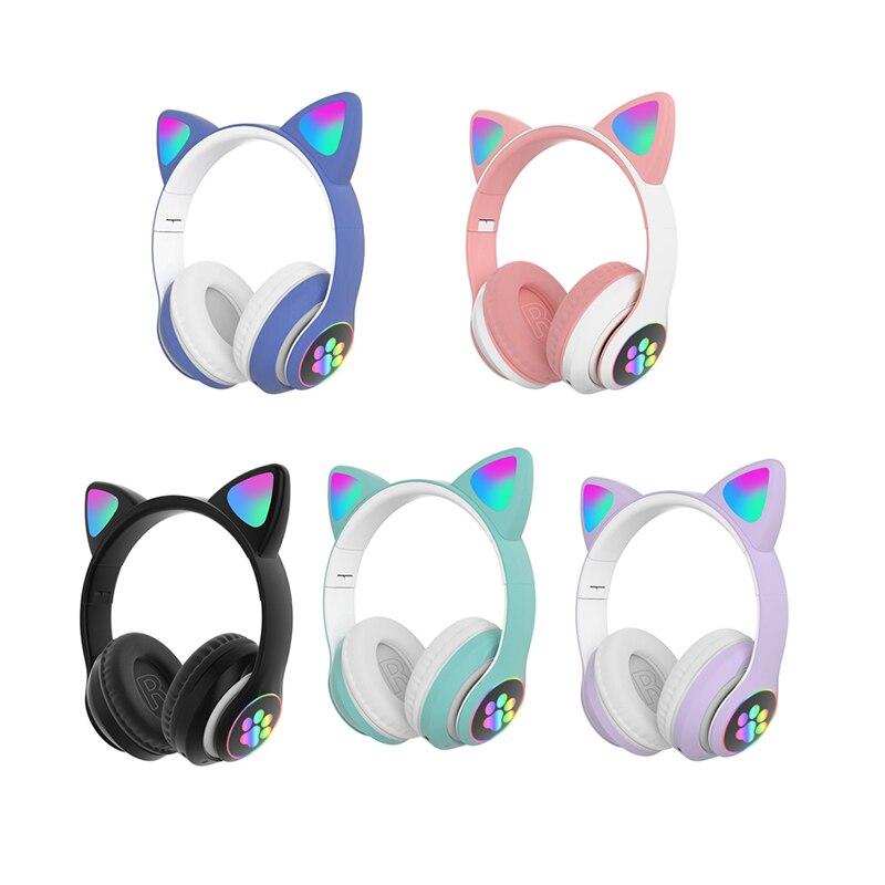 Цветная (RGB) кошачьими ушками наушники Bluetooth 5,0 бас Шум шумоподавления взрослые дети девочки подарочные наушники Поддержка TF карта с микрофо...