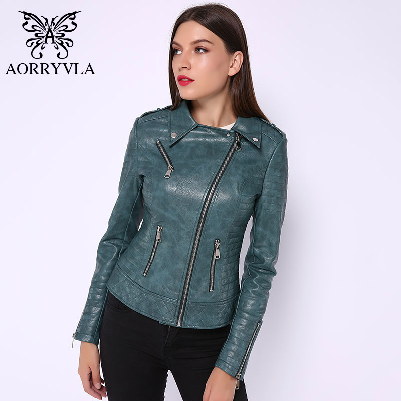 AORRYVLA 2019 Autumn Women   Leather   Jacket PU   Leather   Jacket Black Turn-Down Collar Zipper Short Ladies   Leather   Jacket Hot Model