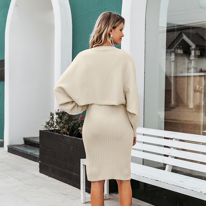 2021 Autumn Knitted Sweater O Neck Bateing Sleeve Two Pieces Women Warm Sweater And Pullover With Dress Femme Tricot Pull Femme 4