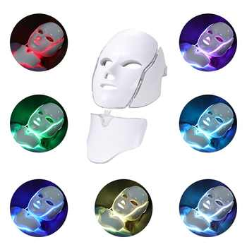 7Colors Light LED Facial Mask With Neck Skin Rejuvenation Face Care Photon Therapy Anti Acne Brighten Skin Tighten Beauty Device