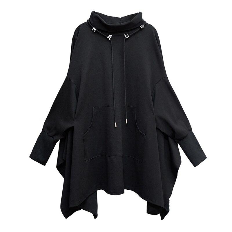 [EAM] Loose Fit Black Irregular Split Sweatshirt New Turtleneck Long Sleeve Women Big Size Fashion Tide Spring Autumn 2020 1Z312 5