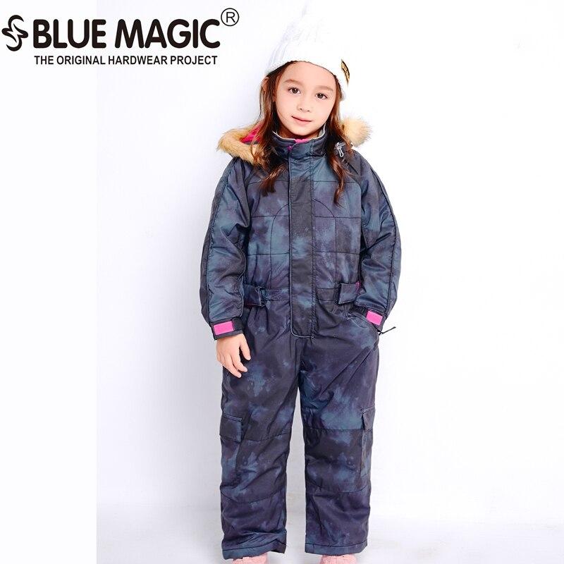 Bluemagic зимние лыжные костюмы для малышей, один предмет для детей, водонепроницаемый теплый комбинезон для девочек и мальчиков, Сноубордическая куртка, комбинезон-30 градусов - Цвет: BLK SMK