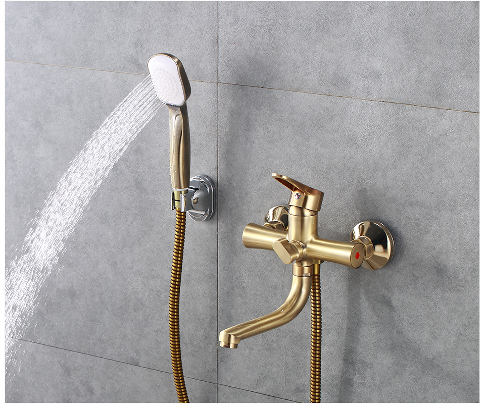 Hd68aba19f1bc498d8d90a38f0aca7089Z Potato Bathroom Faucet 5 Colors Water Mounted Bathtub Long Water Outlet Tube 90 Degree Hot Cold Water Mix Tap Shower Set p30270-
