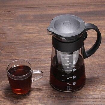 Кофеварка герметичное уплотнение чайник 650 мл для напитков чайник со льдом с фильтром и ручкой съемное Термостойкое стекло многоразовые Filte
