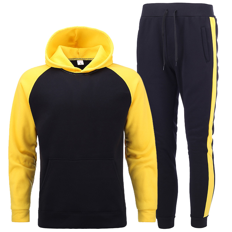 2020New Raglan Sleeves Stitching Stripe Tracksuit Men Set Fleece  Male Sweatshirt Multi-pocket Fashion High Street Hooded Sets