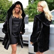 TUHAO размера плюс женские пальто женское осеннее зимнее Свободное пальто из искусственного меха длинное пальто с капюшоном черного цвета пальто с мехом больше размера LQ321