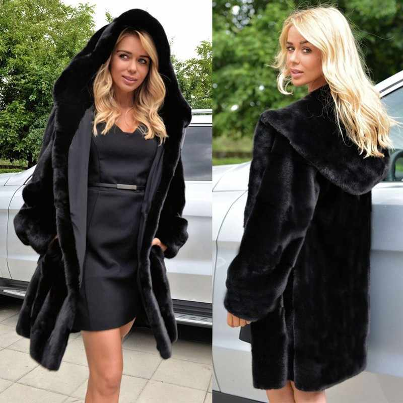 TUHAO Plus Size Women's Coats 2019 Women Autumn Winter Loose Faux Fur Coat Long Hooded Black Colour Fur Coat Oversize LQ321