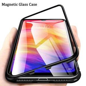 Funda magnética con imán de vidrio templado Redmi Note 8 7 5 K20 Pro Mi 9 T Mi 8 Mi9 SE A3 a prueba de golpes y adsorción funda de teléfono para Xiaomi