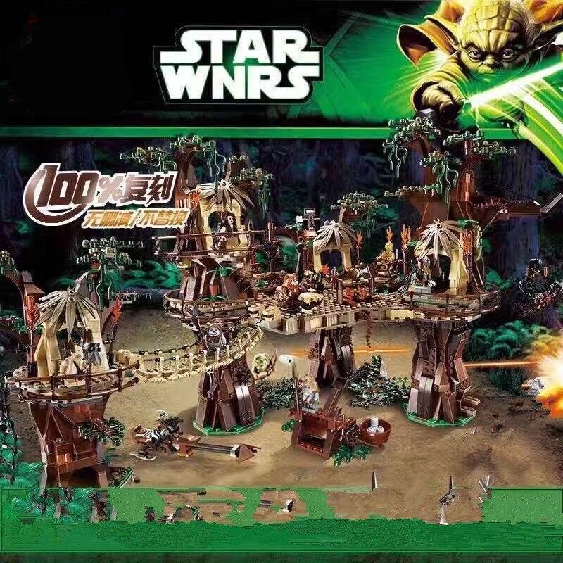 Oyuncaklar ve Hobi Ürünleri'ten Bloklar'de Yıldız savaşları EWOK Köyü EN starwars 05047 set 1990 adet oyuncak inşaat blokları Treetop ev çocuklar Tuğla oyuncak 10236'da  Grup 1