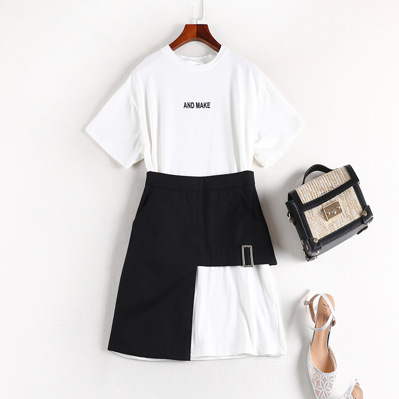 Ultra-pang Da Ma WOMEN'S Suit Fashion Dress 2019 Summer New Style Fat Mm Mid-length T-shirt 70016