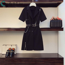 Younger Girls Cool Dress Black Lolita Sexy Shorts Leather Waist Strap Retro Metal Chain Buttonhole Zipper Female Shirts Overalls