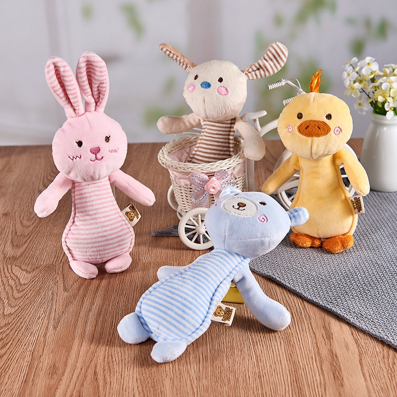 Baby Rattle Mobiles Cute Baby Toy Different Cute Cartoon Animal Stick Hand Bell Rattle Soft Toddler Plush Toys Infant Toys