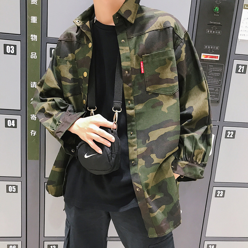 Hong Kong Style Autumn And Winter New Style Harajuku BF Style Workwear Camouflage Shirt Korean-style Men Japanese-style Students