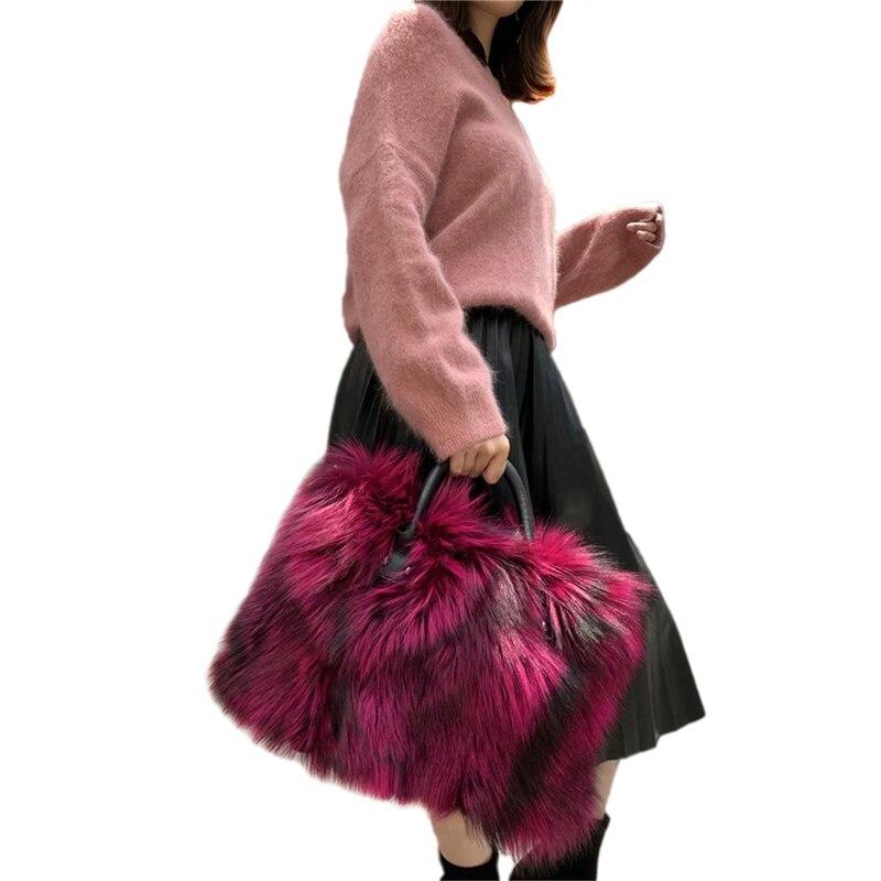 IANLAN femmes véritable peau de vache dur poignée grand sac à main pleine peau de renard fourrure grand sac à bandoulière IL00542