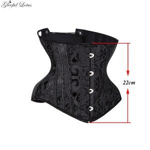 Image 4 - Gorset pod biustem seksowny gotycki gorset ze stali bez kości gorset waist trainer krótki tułów kobiety odchudzanie płaszcza pas wyszczuplający w talii zasznurować