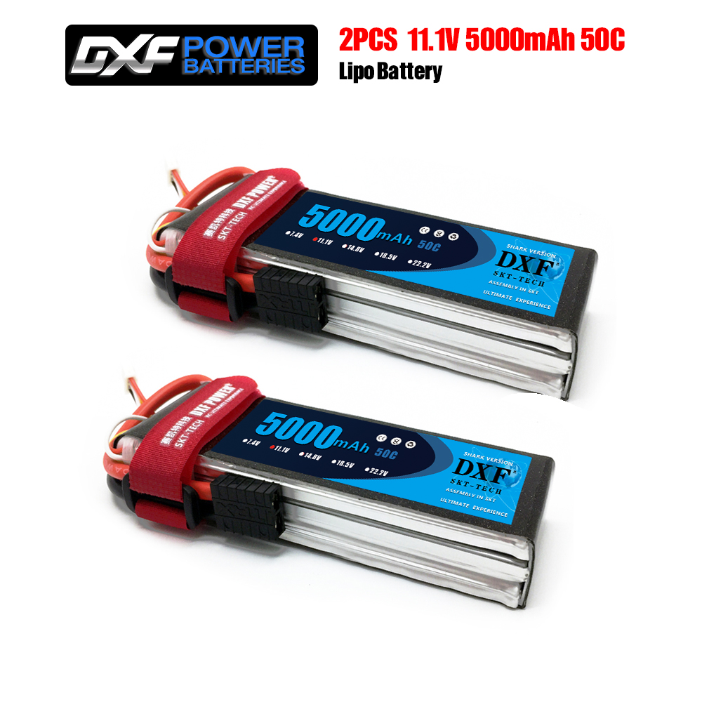 dxf potencia 2 pces 11 1 v 5000 mah 50c max 100c com xt60 plug 3