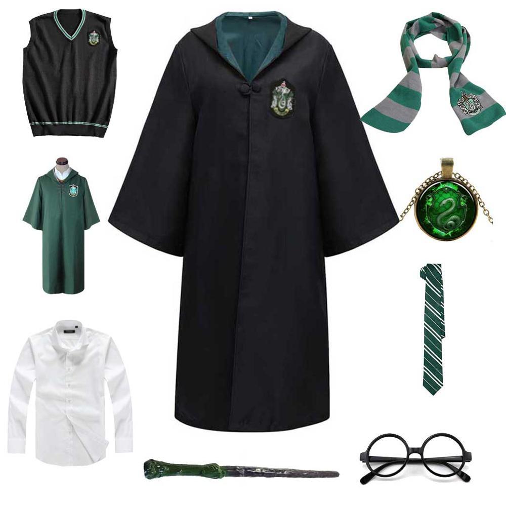 Children Men Women Slytherin Robe Cloak Cosplay Magic School Uniform Sweater Wand Master Pastor Hermione Halloween Costume 1