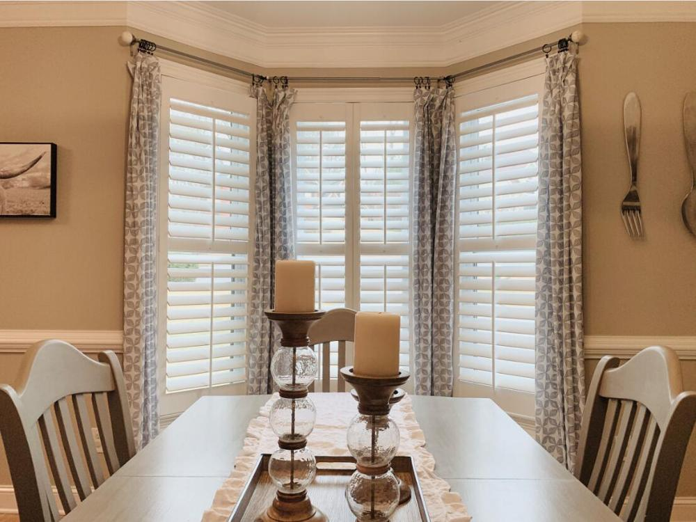Custom Basswood Plantation Shutters Wooden Blinds Solid Wood Shutter Louvers PS241