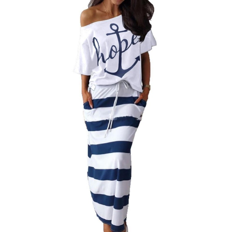 Two Piece Set Women Hope Boat Anchor Print Top Shirts Striped Ankle-length Dress Sexy Off Shoulder Sets Dress Africa Clothing