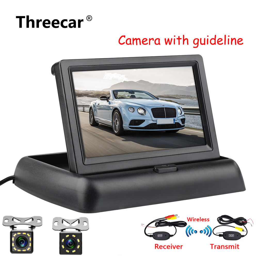 4,3 zoll HD Faltbare Auto Rückansicht Monitor Rückfahr LCD TFT Display mit Nachtsicht Backup Rück Kamera für Fahrzeug