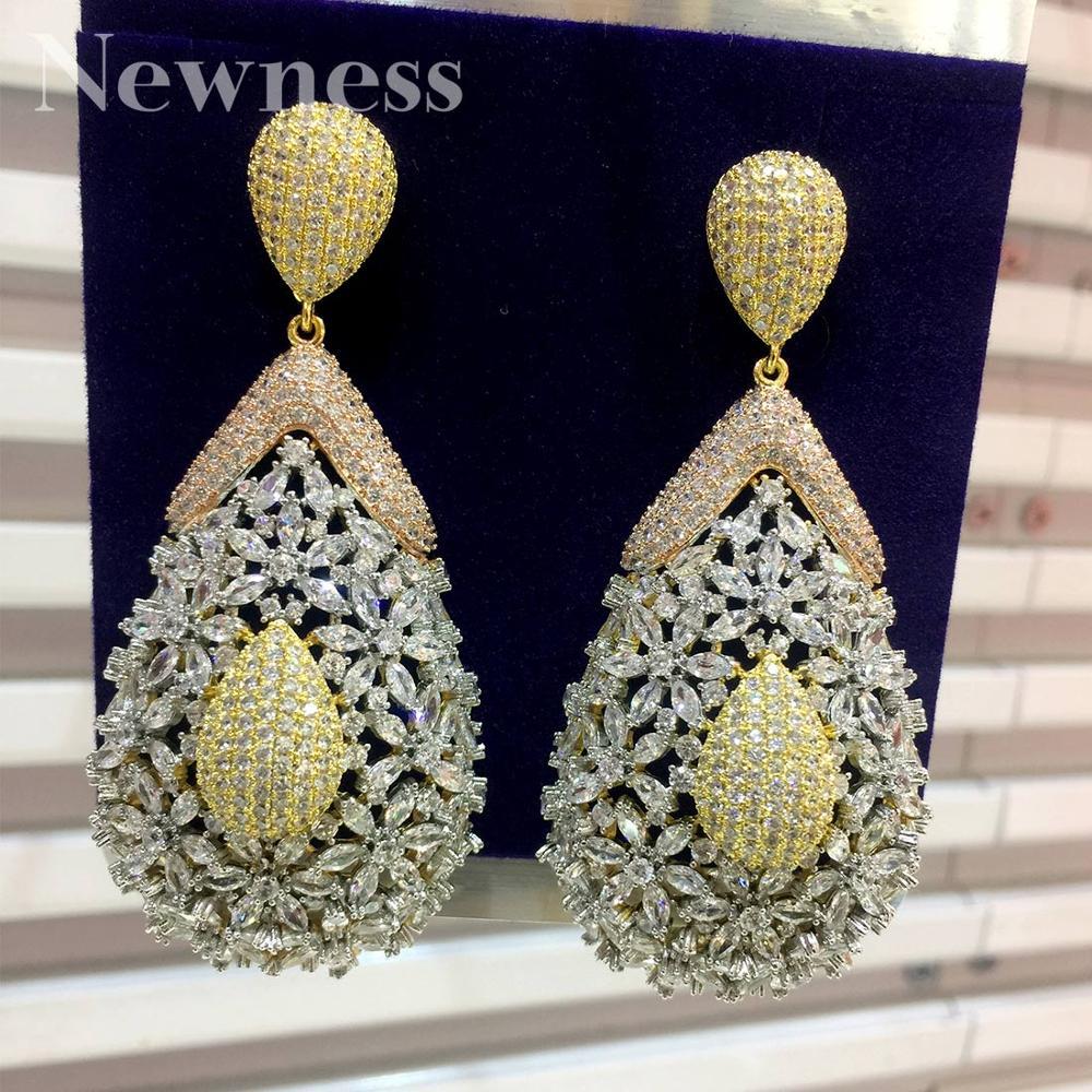 ModemAngel goutte d'eau géométrique CZ cubique Zircon Nigeria boucles d'oreilles pour femmes mariage boucles d'oreilles pendientes mujer moda