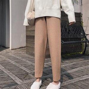 Image 3 - Colorfaith新 2019 秋冬の女性パンツニットウールハイウエストルーズエレガントな韓国スタイルカジュアルバナナパンツP5712