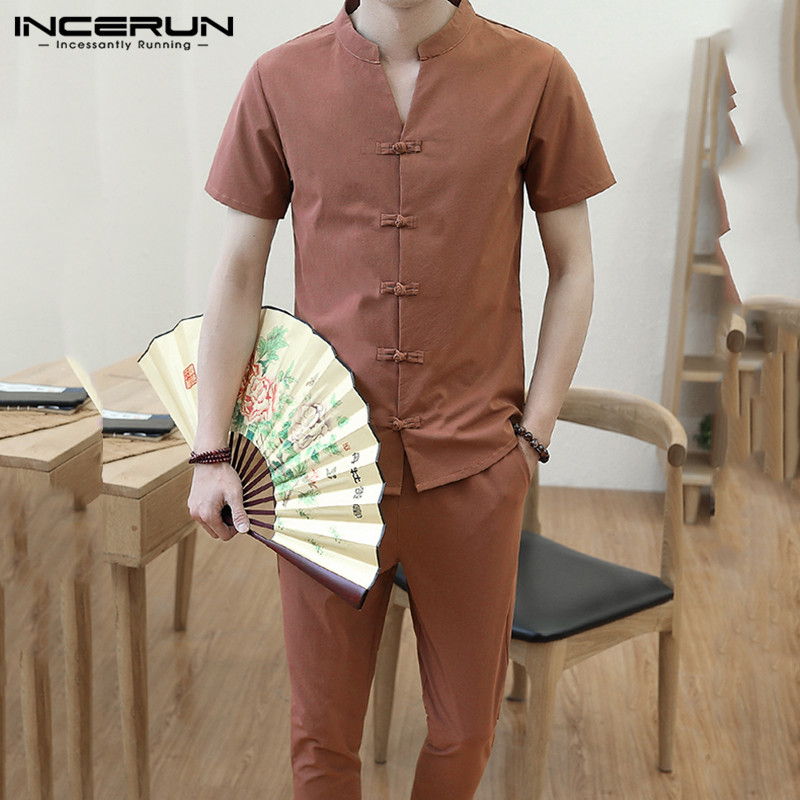 INCERUN Chinese Style Men Sets Short Sleeve V Neck Streetwear Solid Button Retro Shirt & Pants Casual Cotton Mens Suit 2 Pieces
